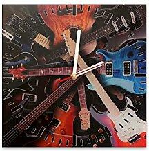Wanduhr aus Glas 30x30cm - 226 - Gitarren - - quadratisch - Uhr aus Glas - Glasuhr - Wandschmuck - 3D Optik - Analog - dekoratives Muster - klassisch für Küche, Wohnzimmer, Schlafzimmer und Flur - modern - günstig - Ziffernblatt - Uhrwerk - Wanduhr - Design - Uhrzei