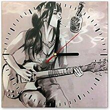 Wanduhr aus Glas 30x30cm - 249 - Gitarristin - - quadratisch - Uhr aus Glas - Glasuhr - Wandschmuck - 3D Optik - Analog - dekoratives Muster - klassisch für Küche, Wohnzimmer, Schlafzimmer und Flur - modern - günstig - Ziffernblatt - Uhrwerk - Wanduhr - Design - Uhrzei