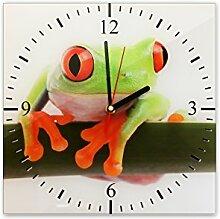 Wanduhr aus Glas 30x30cm - 300 - Frosch - - quadratisch - Uhr aus Glas - Glasuhr - Wandschmuck - 3D Optik - Analog - dekoratives Muster - klassisch für Küche, Wohnzimmer, Schlafzimmer und Flur - modern - günstig - Ziffernblatt - Uhrwerk - Wanduhr - Design - Uhrzeit - Tiermotiv - Tier auf Uhr - Froschbild