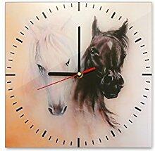 Wanduhr aus Glas 30x30cm - 347 - Pferde - - quadratisch - Uhr aus Glas - Glasuhr - Wandschmuck - 3D Optik - Analog - dekoratives Muster - klassisch für Küche, Wohnzimmer, Schlafzimmer und Flur - modern - günstig - Ziffernblatt - Uhrwerk - Wanduhr - Design - Uhrzeit - Tiermotiv - Tier auf Uhr - Pferdebild
