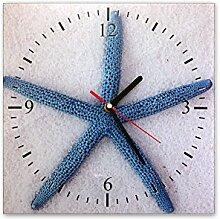 Wanduhr aus Glas 30x30cm - 362, Maritim Motiv - Blauer Seestern - - quadratisch - Uhr aus Glas - Glasuhr - Wandschmuck - 3D Optik - Analog - dekoratives Muster - klassisch für Küche, Wohnzimmer, Schlafzimmer und Flur - modern - günstig - Ziffernblatt - Uhrwerk - Wanduhr - Design - Uhrzei