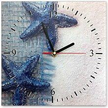 Wanduhr aus Glas 30x30cm - 363, Maritim Motiv -