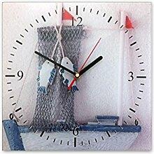 Wanduhr aus Glas 30x30cm - 365, Maritim Motiv - Segelboot 1 - - quadratisch - Uhr aus Glas - Glasuhr - Wandschmuck - 3D Optik - Analog - dekoratives Muster - klassisch für Küche, Wohnzimmer, Schlafzimmer und Flur - modern - günstig - Ziffernblatt - Uhrwerk - Wanduhr - Design - Uhrzei