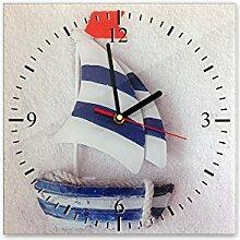 Wanduhr aus Glas 30x30cm - 366, Maritim Motiv - Segelboot 2 - - quadratisch - Uhr aus Glas - Glasuhr - Wandschmuck - 3D Optik - Analog - dekoratives Muster - klassisch für Küche, Wohnzimmer, Schlafzimmer und Flur - modern - günstig - Ziffernblatt - Uhrwerk - Wanduhr - Design - Uhrzei