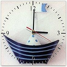 Wanduhr aus Glas 30x30cm - 367, Maritim Motiv -