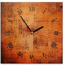 Wanduhr aus Glas 30x30cm - 370 - Vintage - - quadratisch - Uhr aus Glas - Glasuhr - Wandschmuck - 3D Optik - Analog - dekoratives Muster - klassisch für Küche, Wohnzimmer, Schlafzimmer und Flur - modern - günstig - Ziffernblatt - Uhrwerk - Wanduhr - Design - Uhrzei