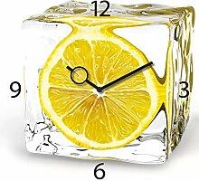 Wanduhr aus Glas für die Küche, Iced Lemon,
