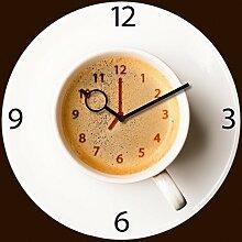Wanduhr aus Glas für die Küche, It's Coffee