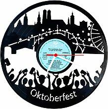"""Wanduhr aus Vinyl Schallplattenuhr """"Oktoberfest"""" Upcycling Design Uhr Wand-Deko Vintage-Uhr Wand-Dekoration Retro-Uhr Made in Germany"""