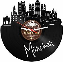 Wanduhr aus Vinyl Schallplattenuhr Skyline München Upcycling Design Uhr Wand-Deko Vintage-Uhr Wand-Dekoration Retro-Uhr Made in Germany