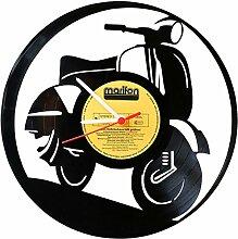 Wanduhr aus Vinyl Schallplattenuhr Vespa Upcycling Design Uhr Wand-Deko Vintage-Uhr Wand-Dekoration Retro-Uhr Made in Germany