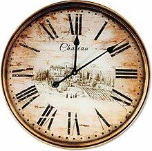 Wanduhr AVIGNON, verglaste XL-Vintage-Uhr, braun,