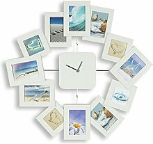 Wanduhr B x H x T: 40,5x42,5x2,5cm Weiß Bilderrahmen Foto-Uhr 12 Fotos Fotogalerie Collage