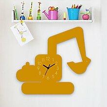 Wanduhr Bagger-Gelb, Kinderuhr, Uhr für Kinderzimmer