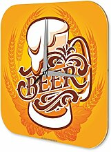 Wanduhr bedruckte Acryl Uhr Bier Küchendeko Retro