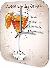 Wanduhr bedruckte Acryl Uhr Cocktail Monkey Island Küchendeko Retro
