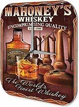 Wanduhr bedruckte Acryl Uhr Mahoney Whiskey Küchendeko Retro