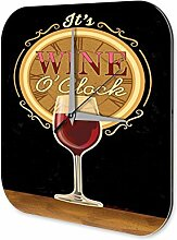 Wanduhr bedruckte Acryl Uhr Rotwein Zeit Glas Küchendeko Retro