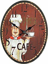 Wanduhr Cafe Paris Shabby Chic Bunt Oval 30x40cm Deko Uhr
