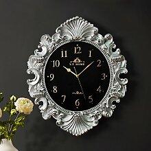 Wanduhr Continental kreative Art deco Wanduhr modische individuell Salon clock Quartz Wanduhr, Silber Schwarz