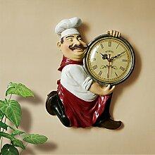 Wanduhr creative Continental retro chef Küche Restaurant Wall Clock Clock Kunst Schmuck personalisierte Wand Quarzuhr