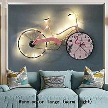 Wanduhr Fahrrad Wanduhr Rosa Warmes Licht mit