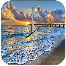 Wanduhr Feng Shui Bild Steg im Meer Sonne Deko