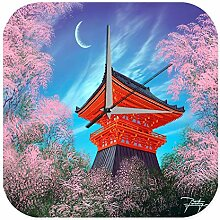Wanduhr Feng Shui Bild Tempel bei Nacht Deko Wand
