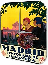 Wanduhr Fernweh Stadt Madrid Acryl Dekouhr Vintage