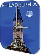 Wanduhr Fernweh Stadt Philadelphia USA Acryl Dekouhr Vintage