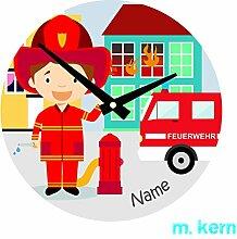 Wanduhr Feuerwehr Kinder