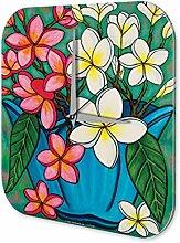 Wanduhr Flora Blumen Deko Blumenvase Dekouhr 25x25 cm