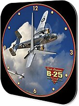 Wanduhr Flugzeug Flughafen Propeller B25 Wand Deko Acryl Uhr