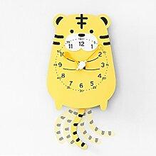 Wanduhr Für Kinder stumm Tiermodellierung Dekoration Pendel Schöne Cartoon Kinderzimmer Kindergarten Schaukel Wanduhr Moderne Dekoration Kreativität UOMUN ( Farbe : Tiger )