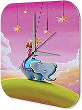 Wanduhr Fun Deko Elefant Acryl Wand Uhr Retro Nostalgie