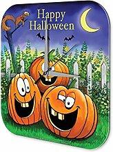 Wanduhr Fun Küchen Deko Happy Halloween lachende Kürbisse Mondsichel Eichhörnchen Fledermäuse Gartenzaun Dekouhr Vintage Retro