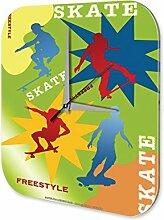 Wanduhr Fun Wand Deko Uhr Skateboard Freestyle 25x25 cm