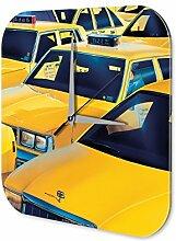 Wanduhr Garage Acryl Uhr bedruckt G. Huber gelbe taxi Tankstellen Deko