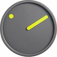 Wanduhr, Gelb auf Dunkelgrau, Ø 16 cm