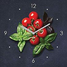 Wanduhr Glas 20x20cm Tomate Basilikum Glasuhr Uhr