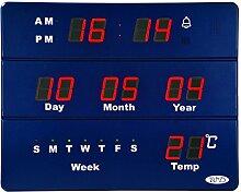 Wanduhr Große Kalender Digital mit der Woche Anzeige von Temperatur Datum Zeit, 5W Stromversorgung AC mit einer Akku wiederaufladbar, 18x 15Zoll, Kunststoff, blau 5.00 wattsW