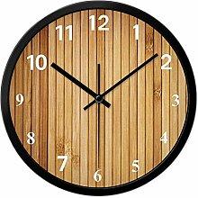Wanduhr hellbraun Bambus Venen kreatives Wohnzimmer stumm einfaches Quarz Uhr Individualität Dekoration Kunst Uhr Wand, 30cm