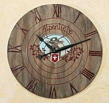 Wanduhr Holz D 60 cm Landhausstil mit Hirschmotiv