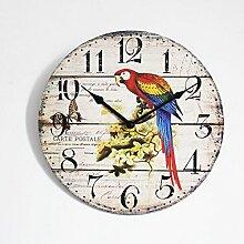 Wanduhr - Holz Küchenuhr mit großem Ziffernblatt aus MDF, Retro Uhr im angesagtem Shabby Chic Design mit leisem Quarz-Uhrwerk, Ø: 30 cm