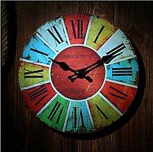 Wanduhr Holz Uhren Quarz Rund Uhr Home Decor