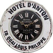 Wanduhr HOTEL D'ANTON aus Eisen D. 24cm Vintage Clayre & Eef (19,95 EUR / Stück)