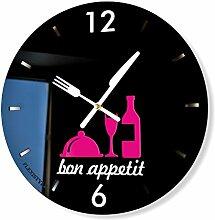 Wanduhr in modernem Design Küchenuhr Serie Bon Appetit Schwarz Pink