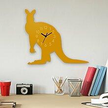 Wanduhr Känguru-Gelb, Kinderuhr, Uhr für Kinderzimmer
