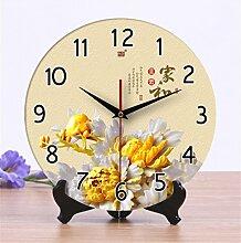 Wanduhr Keramik Creative Uhr Wohnzimmer Chinesische stille Nachahmung Holz Carving Uhr Tisch, 25cm