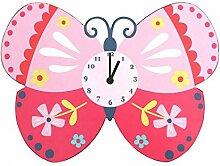 Wanduhr Kinder Rosa Schmetterling Batterienbetrieben Wanduhr